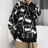 2020 Korean jacquard Unisex men's and women's sweater coat hand hook cocoon Pullover Top