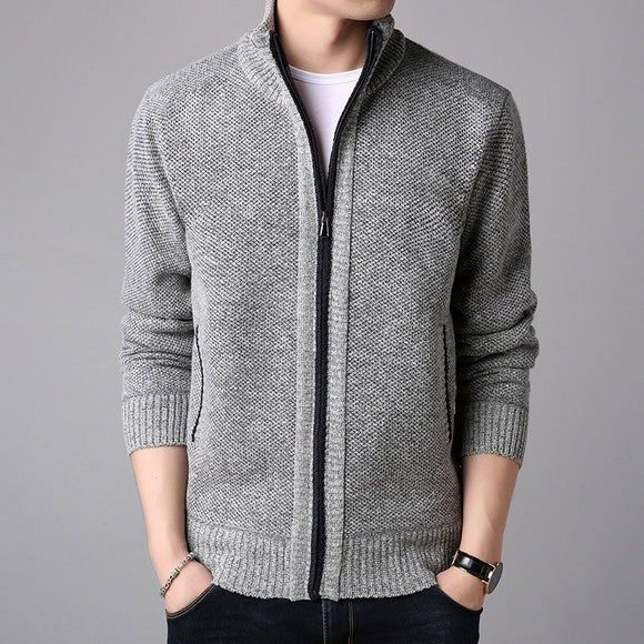 2019 Autumn and Winter New Men's Cardigan Sweater Zipper Men's Cardigan Knitted Sweater Solid Color Jacket Slim Casual Top