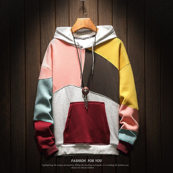 Men's Hoodie 2019 Men's Fashion Colorblocking Loose Men's Pullover Japan Street Casual Jacket Men's Hooded Pullover Size 5XL