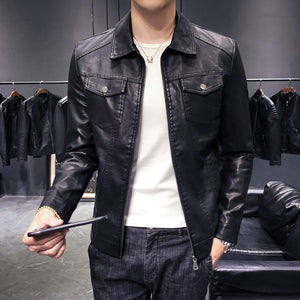 2020 New Men's Zipper Turn-down collar Slim Leather Jacket Black Male PU Outwear Thicken Leather Coats Is Optional Size 5XL