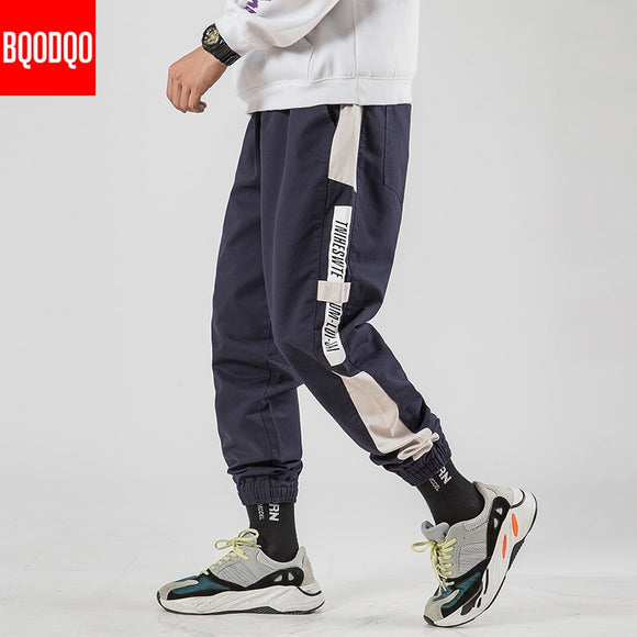 Letter Print Cargo Harem Joggers Pants Men Casual Harajuku Hip Hop Sweatpants Male Fashion Cotton High Street Military Trousers