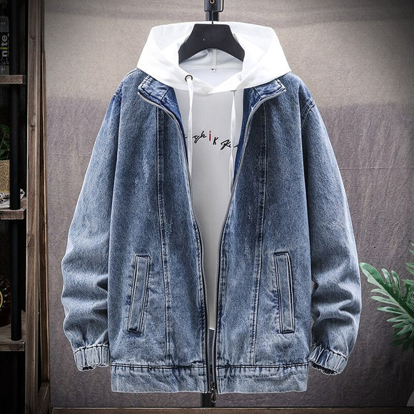 2020 Autumn and Winter New Style Men's Denim Jacket Casual Gold Style Personality Fashion Denim Loose Shirt Male