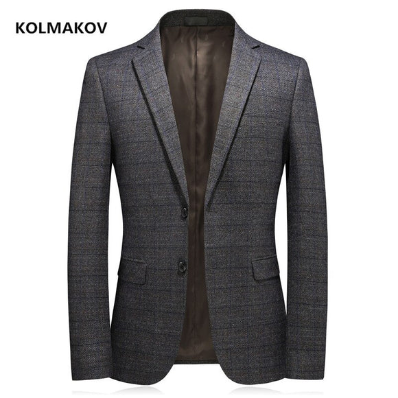 2020 new arrival autumn coat men blazers high quality casual blazer men,Elastic thickening of knitted fabric men's jacket