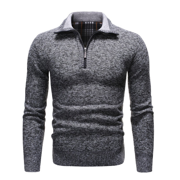 2019 Autumn and Winter New Men's Sweater Solid Color Pullover Men's Sweater Casual Stand-up Collar Thick Wool Turtleneck Men