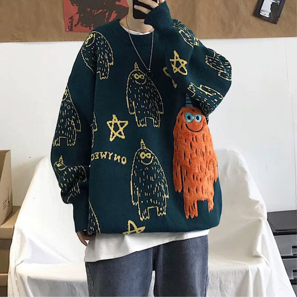 Sweater men's Korean style trend personality autumn and winter thickened cartoon coat Long Sleeve loose T-shirt