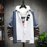 2020 Men's Contrasting Color Hooded Jacket Loose Windbreaker Jacket Fashion Casual Single-breasted Coat Plus Size M-5XL 2 Color