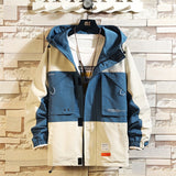 2020 Men's Contrasting Color Hooded Jacket Loose Windbreaker Jacket Fashion Print Casual Zipper Coat Plus Size M-5XL 2 Color
