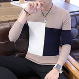 High Quality Jacquard Knitted Sweater Spring and Autumn Long-sleeved Dress Dress Round Sleeve Sweater Men's Bottoming Sweater