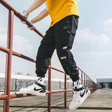 Mens Cargo Pants Joggers Comfortable Casual Drawstring Pants for Men Streetwear Loose Male Trouser Trendy Tie Feet Pants Militar