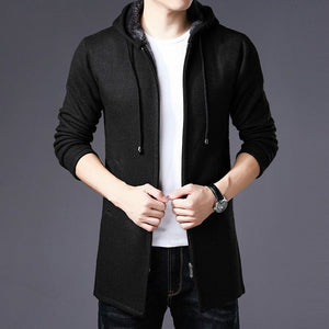 High Quality Sweater Men's 2019 Autumn and Winter Thick Warm Long Cardigan Men's Hooded Sweater Coat with Cotton Lining Zip Coat