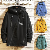 Men Bias Tape Zipper Jacket Slim Parka Hooded Windbreaker Coat Men's High-necked Fashion jackets 4 Color Size M-3XL