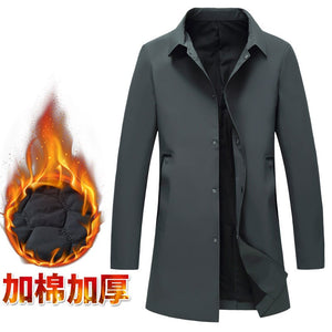 British style Men Fashion Business Casual Trench Jacket Men's Leisure Slim Fit Single Breasted Medium Length Coat Male Size 4XL