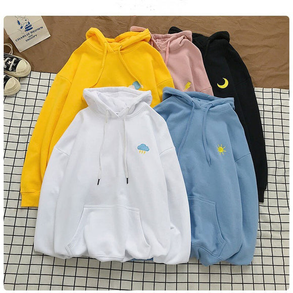 New Style Sweatshirt Men and Women with The Same Paragraph Pure Color Cotton Hoodie Ladies Long Sleeve Casual Hooded Pullover