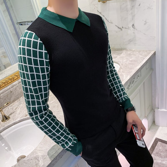 2019 New Fashion Men's Sweater Coat Casual Lapel Slim Cotton Knit Quality Men's Sweater Patchwork Long-sleeved Pullover Shirt