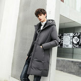 New Winter Men's 70% White Duck Down Hooded Jacket Men's  Zipper Long Trench Coat Solid Slim Fit Jackets Down Coats Size M-3XL