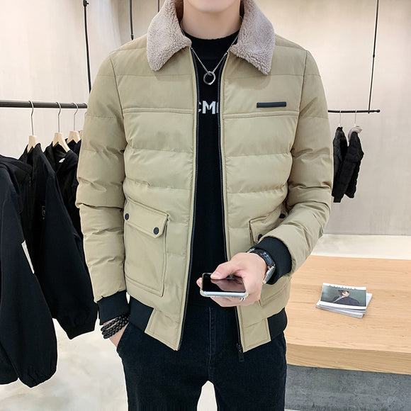 Thick Cotton-padded Jacket Men Clothing Turn-down Fur Collar Coat Men's Bomber Jackets Business and Casual 3 Color Size 4XL