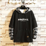 Fashion Men's Hoodie Hip Hop Brand Fake Two-piece Plaid Hoodie Casual High-quality Printed Letter Jersey Men's Fashion Hoodie