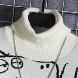 Sweater men's high collar graffiti trend loose lovers 2020 Winter Hong Kong Style thickened men's T-shirt coat
