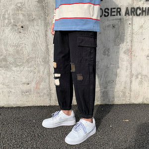 Ripped Harem Joggers Pants Men XL Black Fashion Loose Military Cargo Trousers Male Streetwear Casual Harajuku Hip Hop Sweatpants