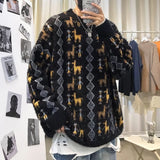 Autumn and winter new round neck loose lazy style lovers thick sweater men's Pullover trend students long sleeve sweater men