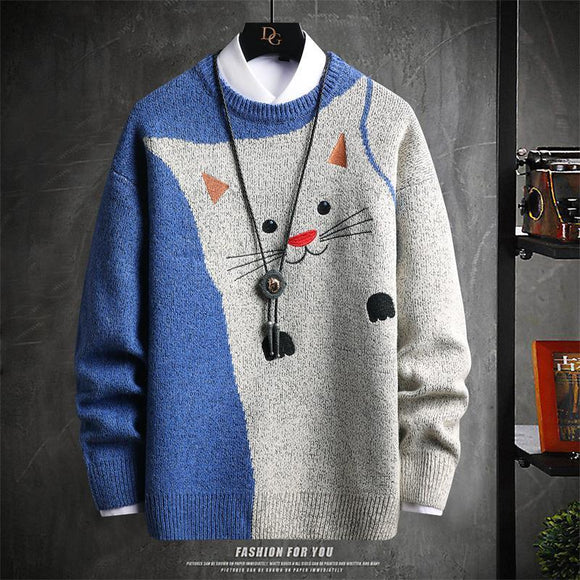 Autumn and winter men's sweaters with plush and warm round neck new style knitwear long sleeve youth sweater bottoming sweater