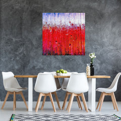 Abstract red painting in a dining room