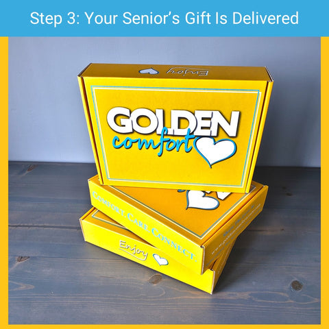 Step 3 - your subscription box is delivered to your senior citizen