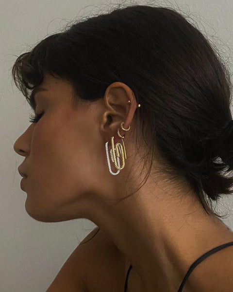 The Pave Paper Clip Earrings