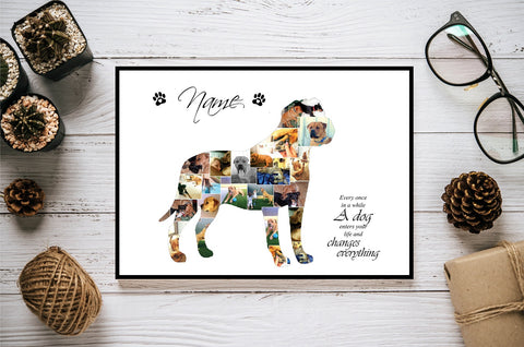American Mastiff Dog Personalised Photo Collage Silhouette- Digital File