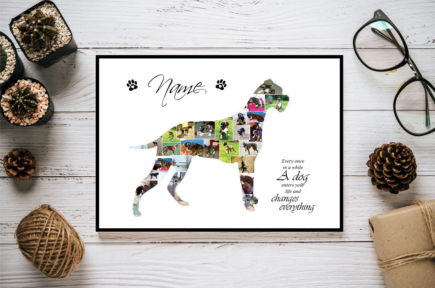 Boxer Dog Personalised Photo Collage Silhouette- Digital File