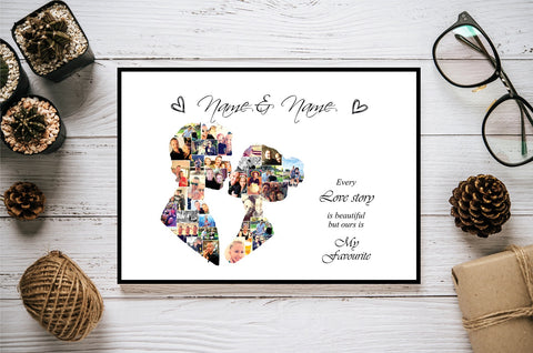 Couple Engagement Love Personalised Photo Collage Silhouette- Digital File