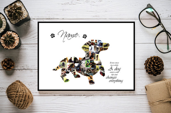 Dachshund Dog Personalised Photo Collage Silhouette- Digital File