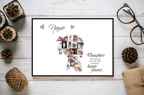 Daughter Niece Grandaughter Family Love Girl Personalised Photo Collage Silhouette- Digital File