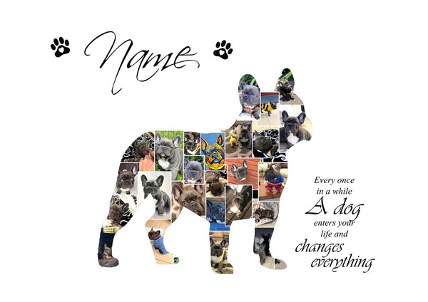 French Bulldog Dog Personalised Photo Collage Silhouette- Digital File