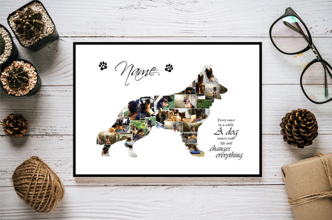 German Shepard Dog Personalised Photo Collage Silhouette- Digital File