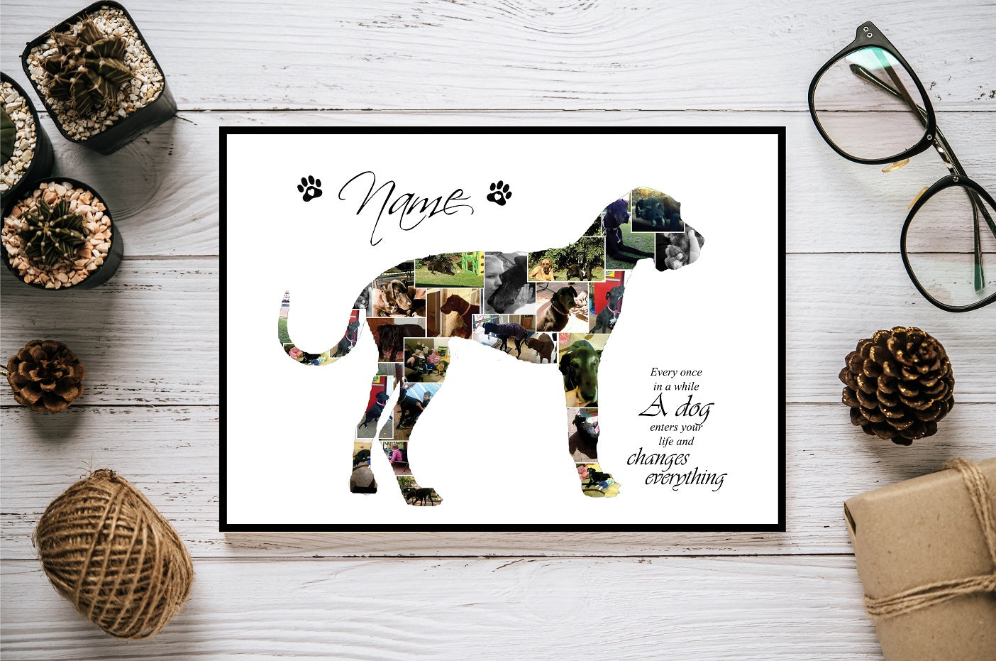 Great Dane Dog Personalised Photo Collage Silhouette- Digital File