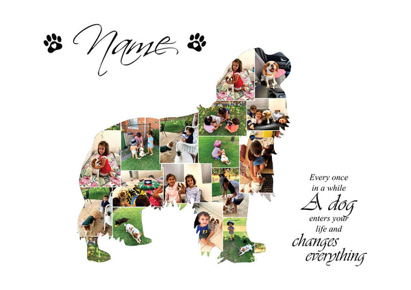 King Charles Cavalier Dog Personalised Photo Collage Silhouette- Digital File