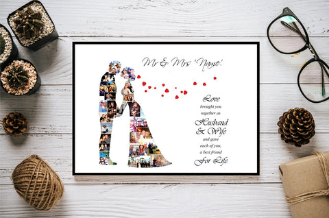 Wedding Love Couple Marriage Personalised Photo Collage Silhouette- Digital File