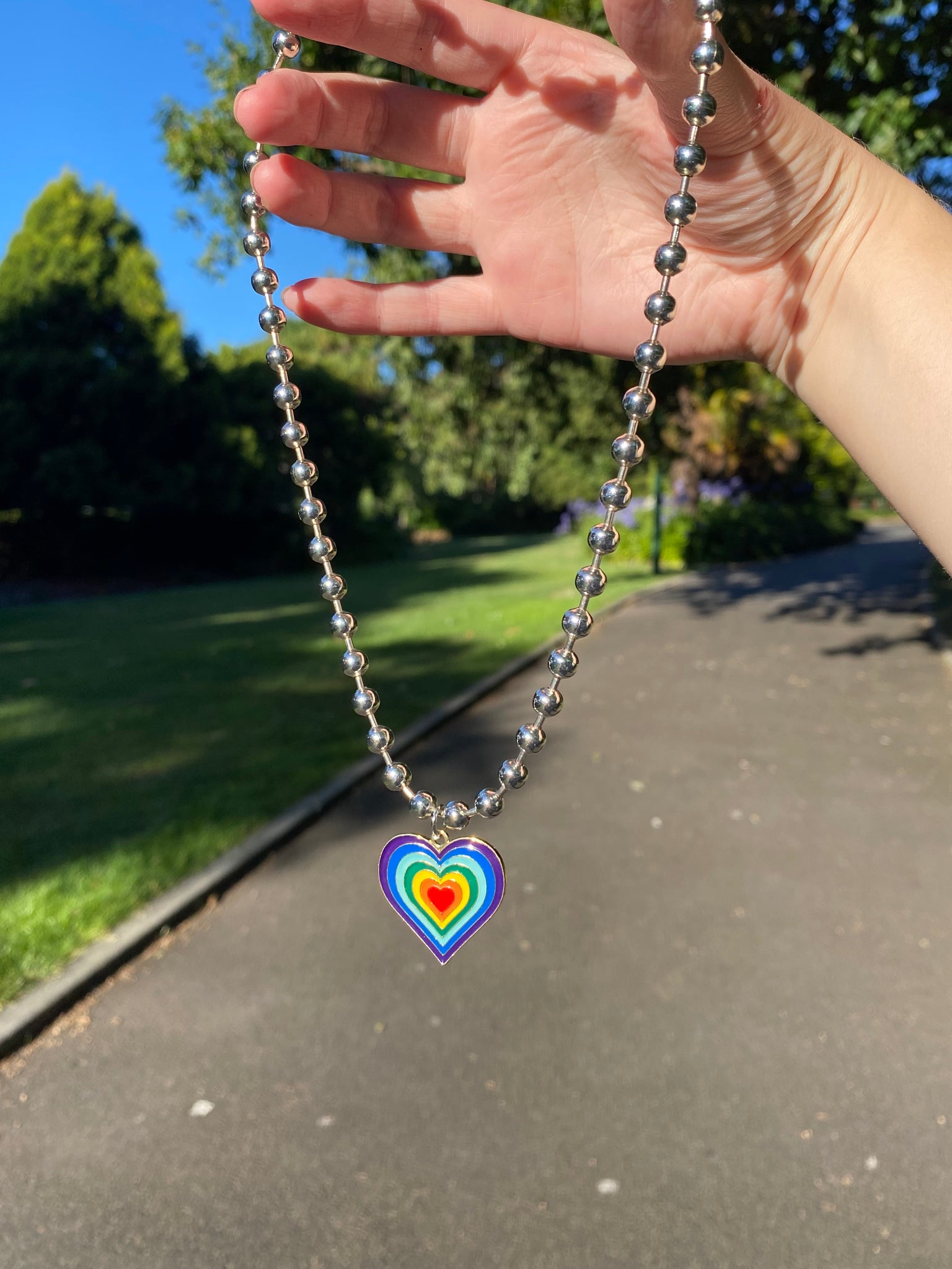 Rainbow Layered Heart Pendant Necklace