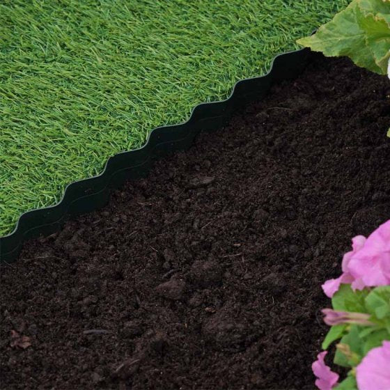 Plastic Lawn Edging, Green - 15cm x 10m