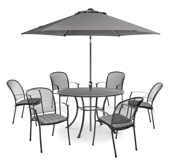 Caredo 6 seat set with slate cushions, parasol and base
