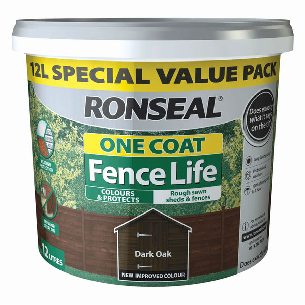 Ronseal One Coat Fence Life 'Dark Oak'- 12L