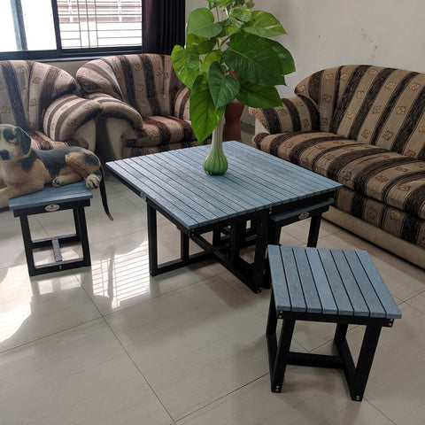 Eco Cross Coffee Table Set with 4 stools