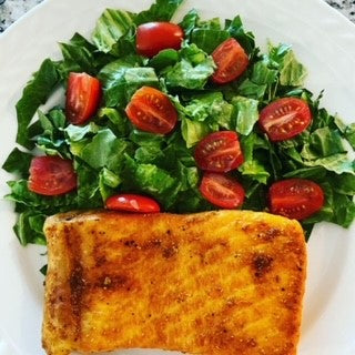 Air fried salmon, side salad with vanilla lime dressing