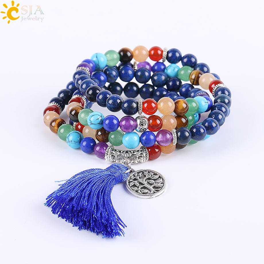 Mala 7 Chakra Multilayer Charms Bracelets Jewelry Lapis Lazuli 108 Mala Prayer Beads Reiki Healing Yoga Meditation Power E660