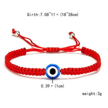 Load image into Gallery viewer, Women Red Lucky Rope Blue Fatima's Hand Turkish Blue Evil Eye Thread Adjustable Bracelet Wishing Handmade Glass Bead Bracelet