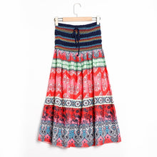 Load image into Gallery viewer, Boho Floral A-line Women's Maxi Skirt Elastic High Waist Sashes Vintage Pleated Womens Skirts 2020 Summer Fashion Clothes Female