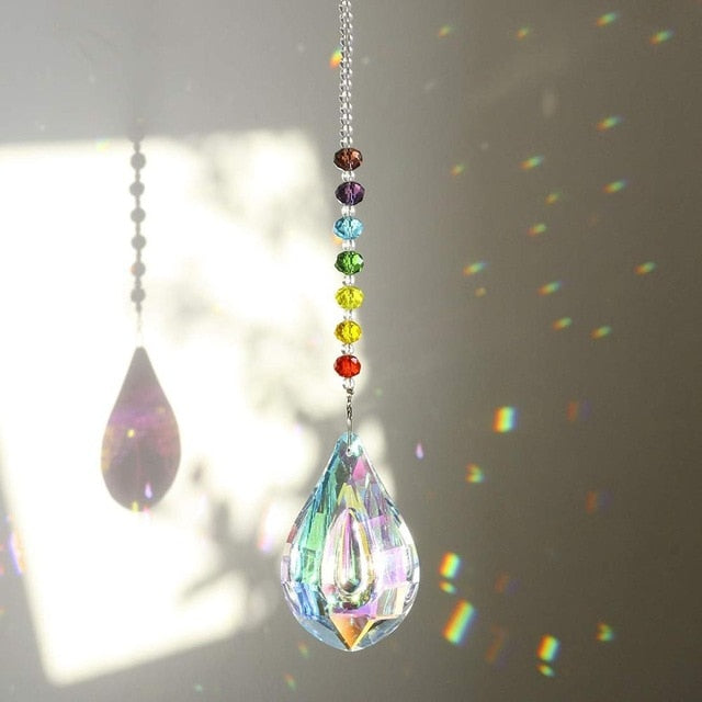 H&D Chakra Crystal Suncatcher with 76mm AB Gourd Prism Drops Rainbow Maker Craft Chain Hanging Window Ornament Home Garden Decor