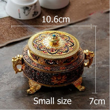 Load image into Gallery viewer, ERMAKOVA Incense Holders Incense Burner Tibetan Style Painted Enamel Zinc Alloy Coil Incense Holder Home Office Decoration Gift