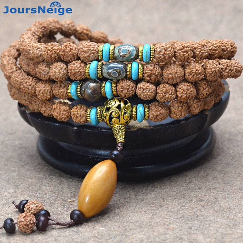 Tibetan KingKong Bodhi Bracelets 108 Rosary Buddha Beads With Olive Bead Necklace Prayer Wood rare Japa mala